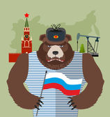 Bear with ear flaps with  flag of Russia. Background of  Moscow — Stock Vector