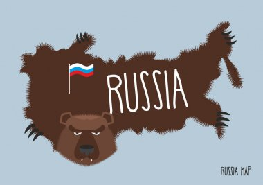 Map of Russia in the form of bear skins. Vector illustration