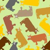 Cow seamless pattern. Crazy cow with big eyes. Pets Vector backg — Stock Vector