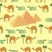 Egypt. Seamless pattern Characters of Egypt: pyramids and camels — Vector de stock