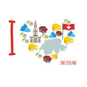 I love Switzerland. Symbol heart of cheese and Alps, Bank and mo — Stock Vector