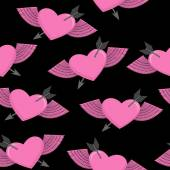 Heart and arrow symbol of love. Winged heart seamless pattern. — 图库矢量图片