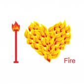 I love fire. Symbol of  heart of  flame. Flaming heart. Vector i — Διανυσματικό Αρχείο