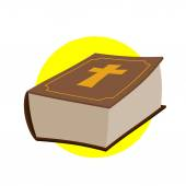 Holy Bible. Thick old book with a cross. Old and New Testament. — Stock Vector