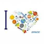 I love space. Heart symbol of cosmic elements: astronvty and the — Stock Vector