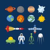 Space set of icons. Vector Illustrator. Cartoon heroes:  alien — ストックベクタ