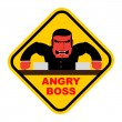 Danger angry boss. Aggressive head screams. Red businessman at t — Stock Vector #78717584