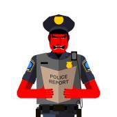 Angry policeman shouts. Dreaded red man in a uniform. Vector ill — Stock Vector