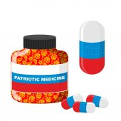 National Patriotic medicine in Russia.  Pill with Russia. Vector — Stock Vector