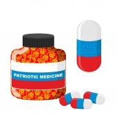 Medicina patriótica nacional en Rusia. Píldora con Rusia. Vector de — Vector de stock