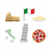 Set icons symbols of Italy. Flag and map,  Colosseum and  leanin — Stock Vector