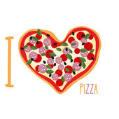 I love pizza. Heart symbol in form of pizza. Vector Italian nati — Vetor de Stock