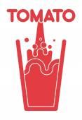 Tomato juice glass. Spray fresh tomato juice. Vector illustrati — Stock Vector