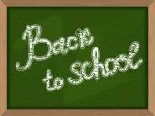 Back to school. Inscription on  Green chalk Blackboard. Chalk bo — Stock Vector
