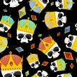 Постер, плакат: Street Kings Gold Crown skull seamless pattern Vector backgrou