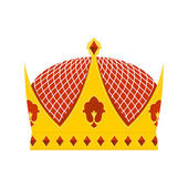Golden Royal Crown with precious stones on a white background. H — Vetor de Stock