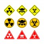 Set sign Biohazard, toxicity, dangerous. Yellow signs of various — Stock Vector #80816250