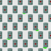Barrel of radioactive, chemical waste seamless pattern. Vector B — 图库矢量图片