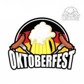 ドイツのビール祭りオクトーバーフェスト。ビール ジョッキの背景 — ストックベクタ