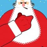 Постер, плакат: Bad Santa Claus shows fuck Bad hand gesture Bully Santa with c