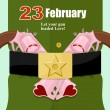 Постер, плакат: 23 February defender of fatherland day in Russia Love gun Pe