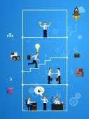 Travail d'équipe, montrant la transaction, le graphisme, la coopération — Vecteur