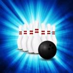 Постер, плакат: Bowling Ball crashing and skittles