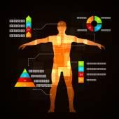 Medicine infographics. Schematic description of the human body. — Stock Vector