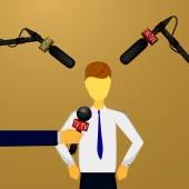 Konzept-live-Nachrichten, Reportagen, interviews — Stockvektor