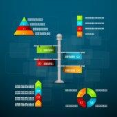 Modèle de calendrier avec des graphiques et de texte. — Vecteur