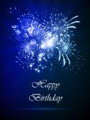 Happy birthday card on a dark background — Stock Vector