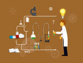 Process Research in a chemical laboratory. — Stock Vector