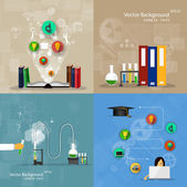 Concepts of education. A set of backgrounds. — Stock Vector