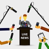 Concept live news, reports, interviews — Stock Vector