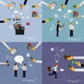 Illustration of teamwork set — Stock Vector