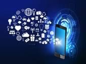 Internet technology futuristic signs — Stock Vector