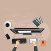 Designer skrivbord topp view — Stockvektor