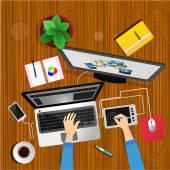 Designer desk top view — Stock Vector