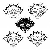 Set of Gargoyles Muzzle. Contour Image — Stock Vector