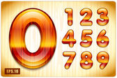 Decorative lacquer numbers of expensive wood — Stock Vector
