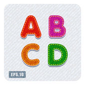Denim uppercase letters A, B, C, D — Stock Vector