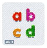 Denim lowercase letters a, b, c, d — Stock Vector