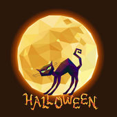 Halloween cat on background of moon — Stock Vector