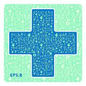 Медицинские иконки в форме креста — Cтоковый вектор