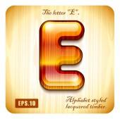 """Decorative lacquer letter """"E"""" — Stock Vector"""