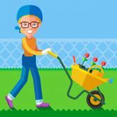 Woman wheel garden wheelbarrow — Stock Vector