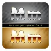 Chrome metal and gold letter M — ストックベクタ