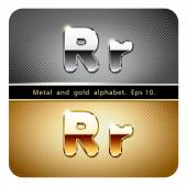 Chrome metal and gold letter R — Stockvector