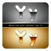 Хром металла и Золотая буква Y — Cтоковый вектор
