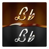 Golden stylish italic letters B — Stock Vector
